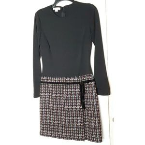 London Times Dress Black W/ Tweed Skirt Size 6